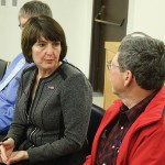 Whitman County grower Larry Cochran (right) voices some of his concerns to Congresswoman Cathy McMorris Rodgers (R-Wash.) during her farm bill listening session in Colfax last month.