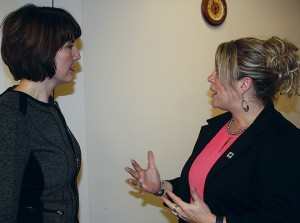 Michelle Hennings (right), executive director of the Washington Association of Wheat Growers, thanks Rep. Cathy McMorris Rodgers (R-Wash.) for her help on the falling numbers funding appropriations request.
