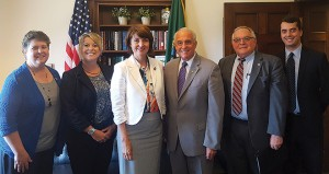 Rep. Cathy McMorris Rodgers (R-Wash.) is one of the legislators helping to move the appropriations request through the process that the WAWG team met with. From left are WAWG Vice President Marci Green; WAWG Executive Director Michelle Hennings; McMorris Rodgers; Derek Sandison, director of the Washington State Department of Agriculture; Jim Moyer, associate dean of research in WSU's College of Agricultural, Human, and Natural Resource Sciences; and Andrew Annis, policy and affairs coordinator at WSU's Office of Federal Relations.